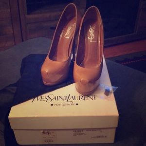 YSL authentic Tribtoo 105 pump in nude 35 1/2